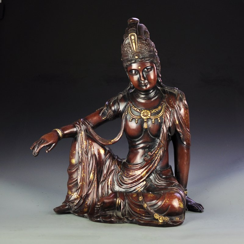 Chinese Ming Dy Gilt Gold Red Copper Kwan-yin Statue