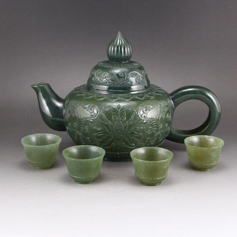 A Set China Green Hetian Jade Low Relief Teapot & Cups