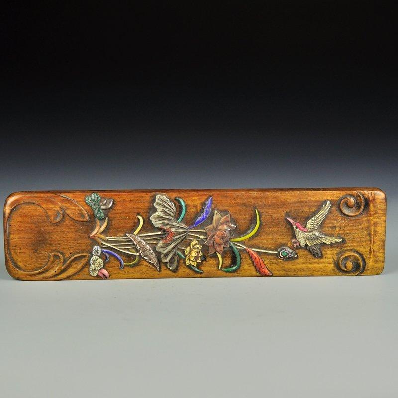 Vintage Huali Wood Inlay Bone & Shells Paperweight