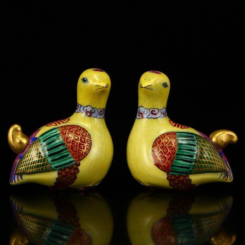 Famille Rose Porcelain Mandarin Duck Snuff Bottle