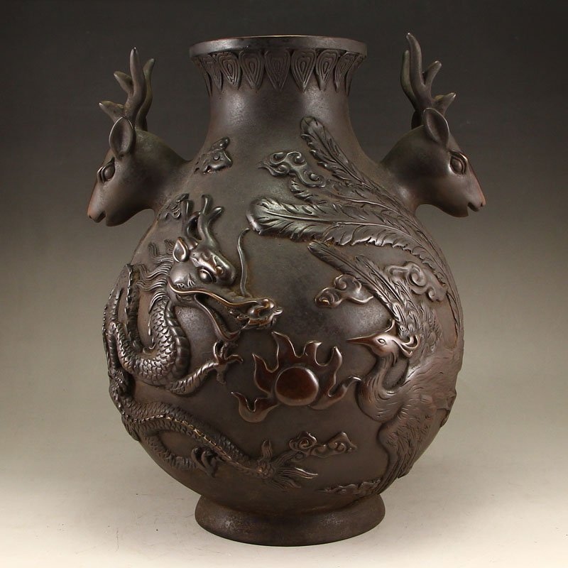 Chinese Red Copper Deer Heads Dragon & Phoenix Vase