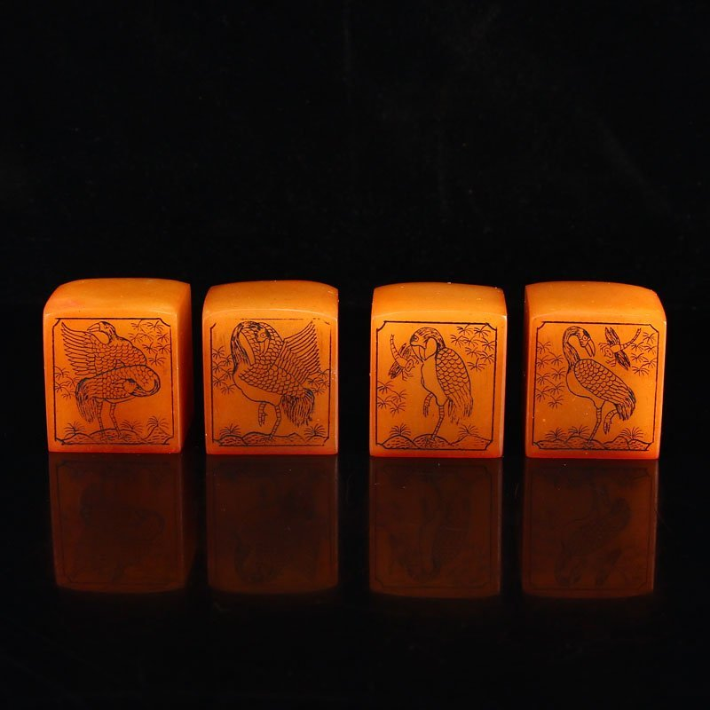 A Set Chinese Shoushan Stone Tianhuang Stone Seals