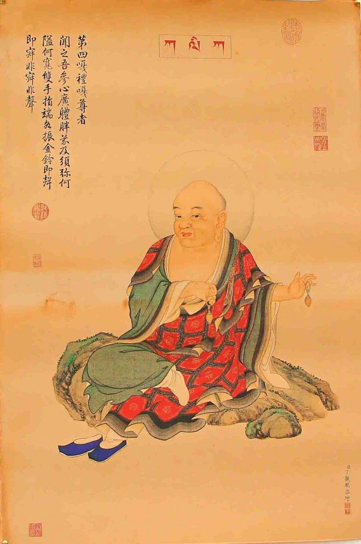 Chinese Hand Painted Buddhism Kraft Thangka - Arhat