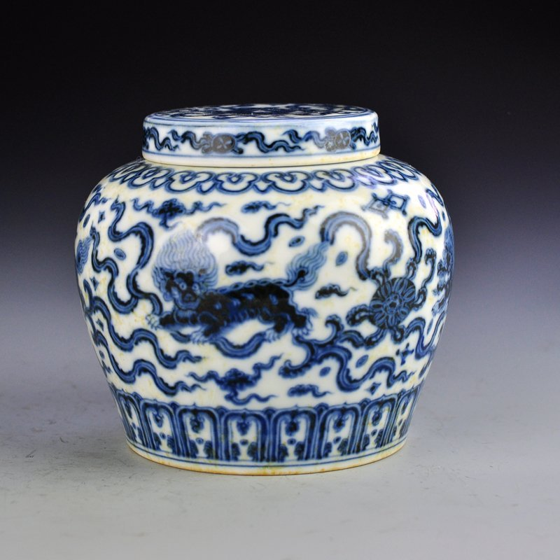 Chinese Ming Dy Blue And White Porcelain Tea Caddy