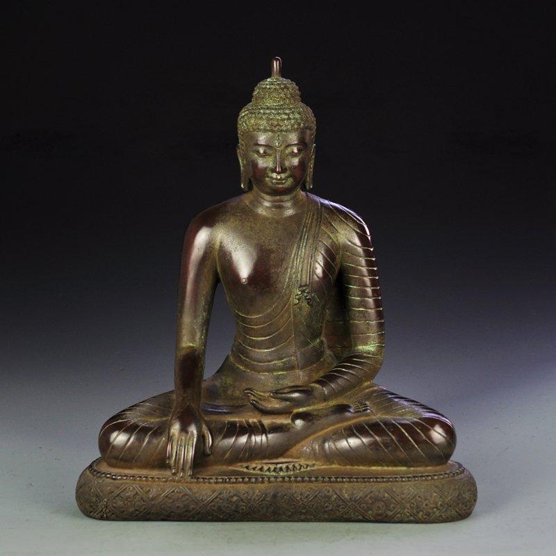 Chinese Ming Dy Red Copper Statue - Siddhartha Buddha