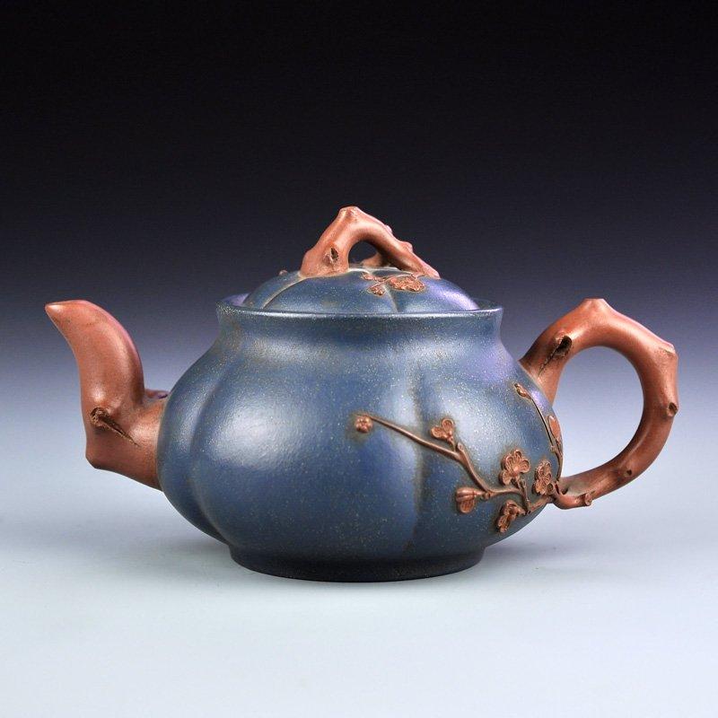Vintage Chinese Yixing Zisha Teapot - Plum Flower