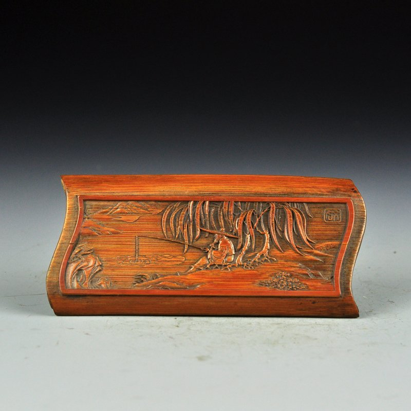 Vintage Bamboo Low Relief Arm Rest - Fishing Scene