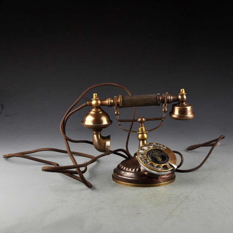 Vintage Chinese Brass Working Telephone