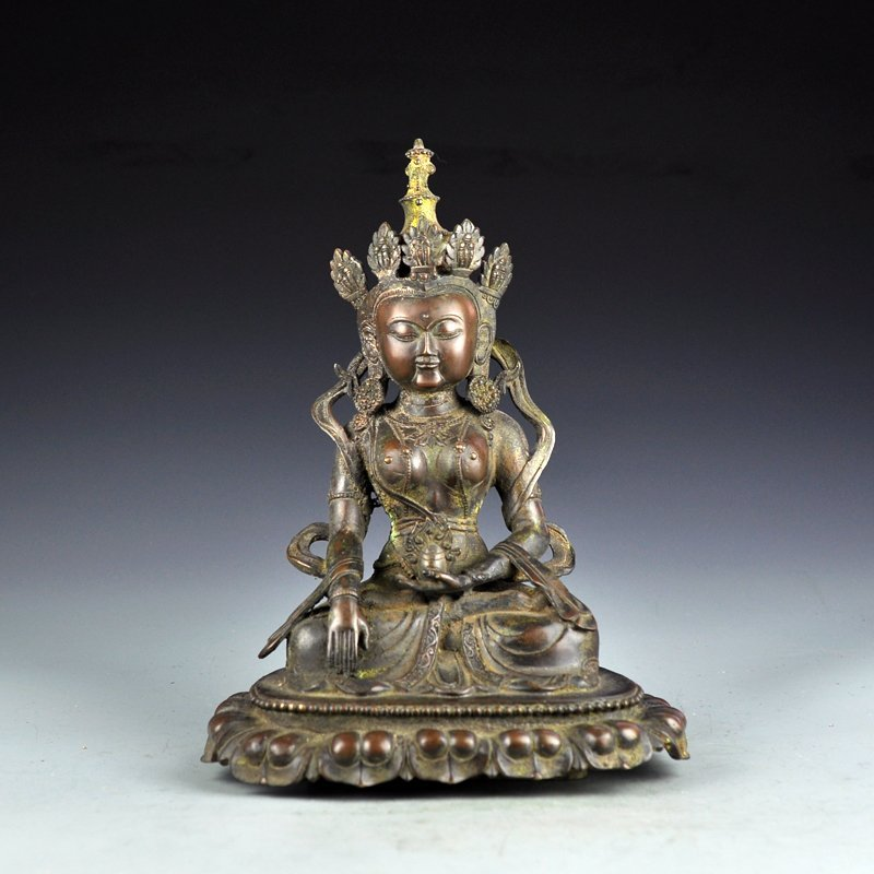 Tibetan Buddhism Red Copper Boddhisattva Statue