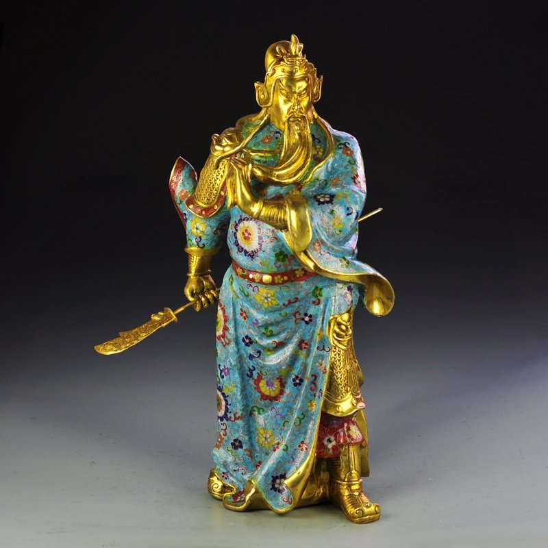 Chinese Gilt Gold Bronze Cloisonne Guan Gong Statue