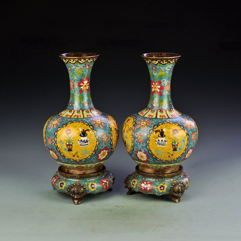 A Pair Chinese Qing Dynasty Bronze Cloisonne Vases