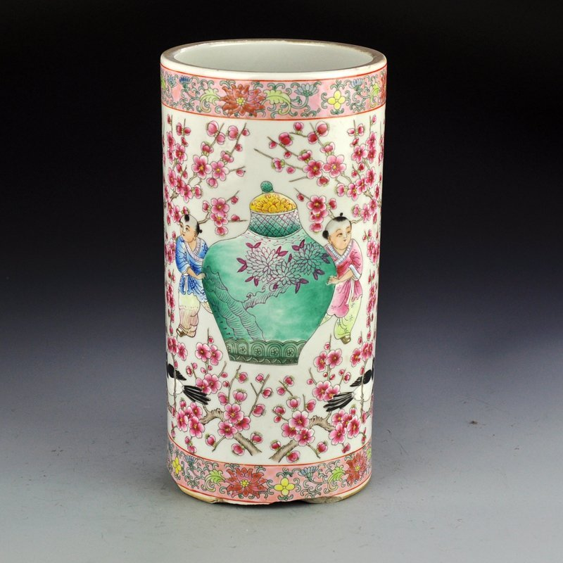Chinese Famille Rose Porcelain Brush Pot - Plum Flower