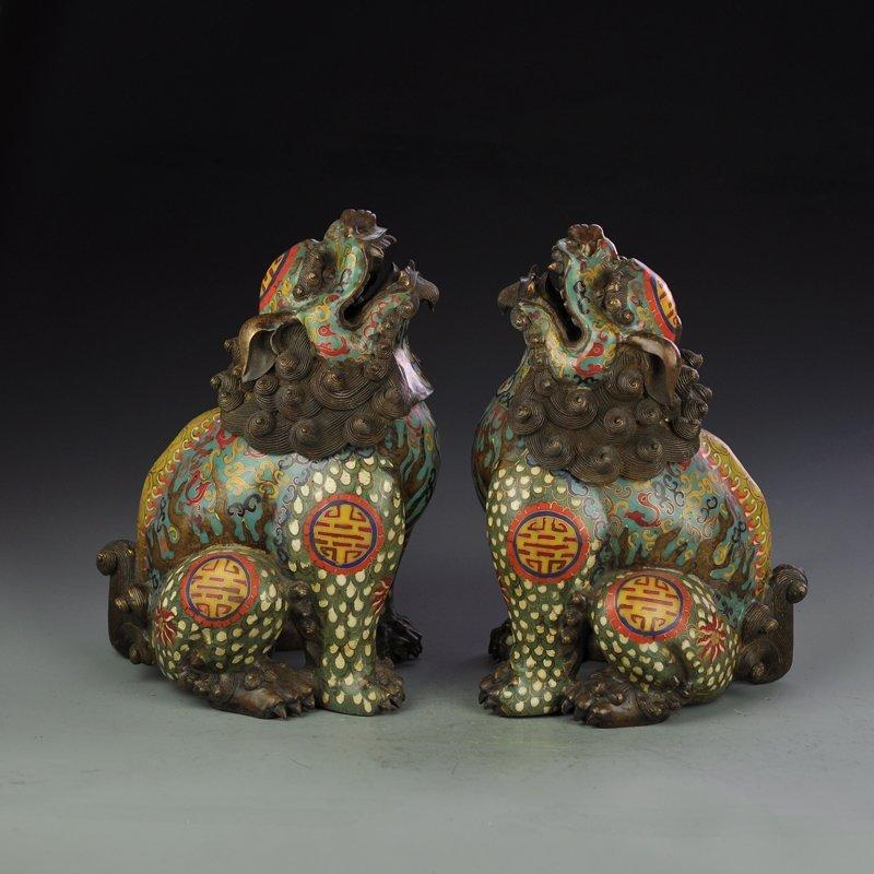A Pair Vintage Bronze Cloisonne Lions Incense Burner