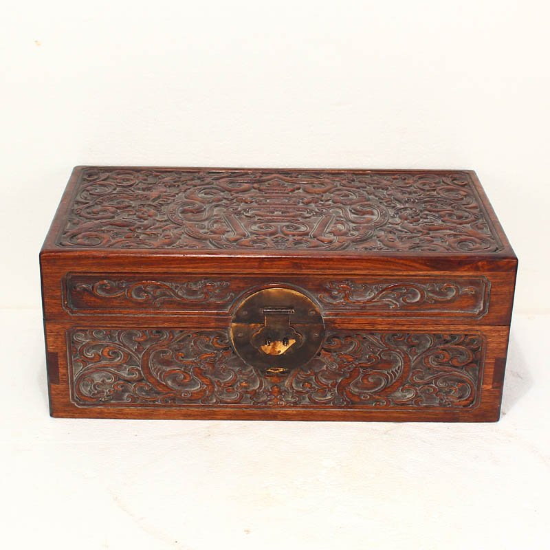 Vintage Chinese Zitan Wood Jewelry Box w Dragons