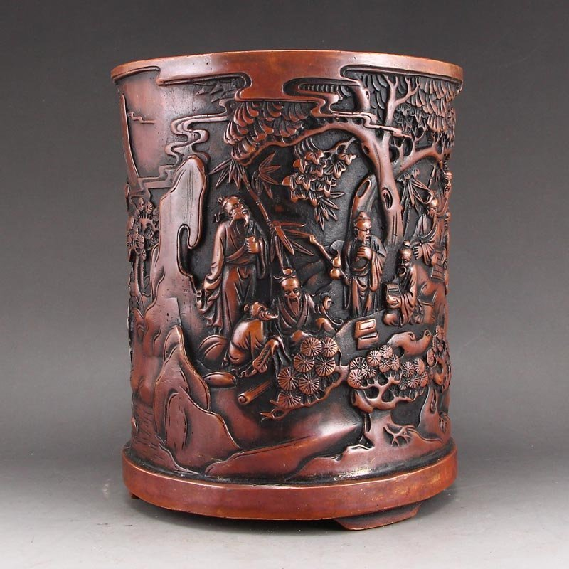 Vintage Chinese Red Copper Low Relief Brush Pot