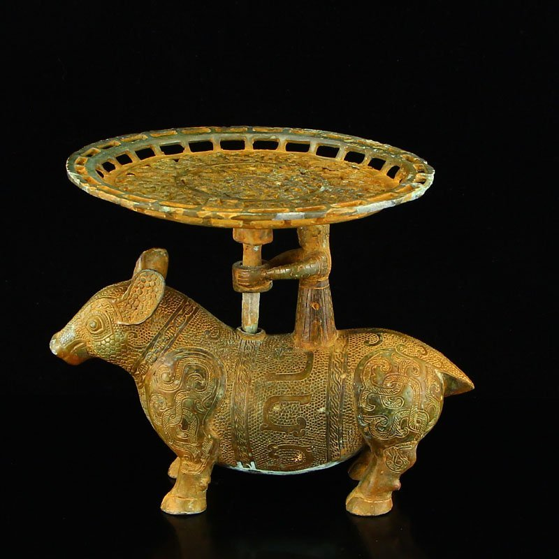 Vintage Chinese Bronze Ox Lamp