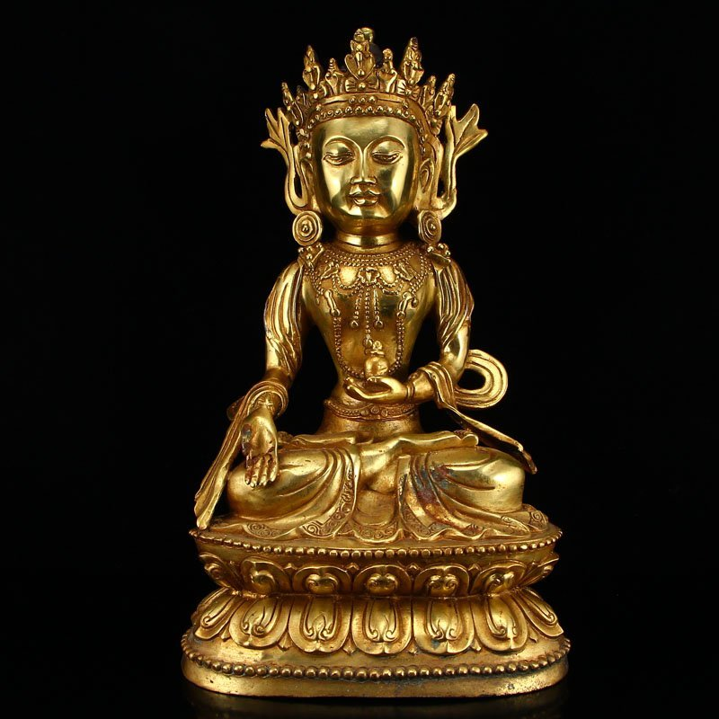 Tibetan Buddhism Gilt Gold Bronze Vajrasattva Statue