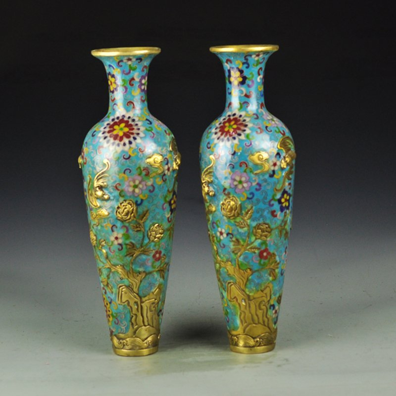 A Pair China Qing Dy Gilt Gold Bronze Cloisonne Vases