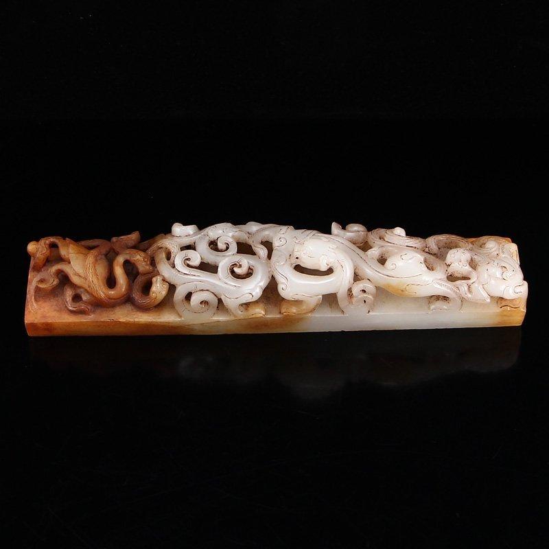 Openwork Chinese Hetian Jade Chi Dragons Paperweight