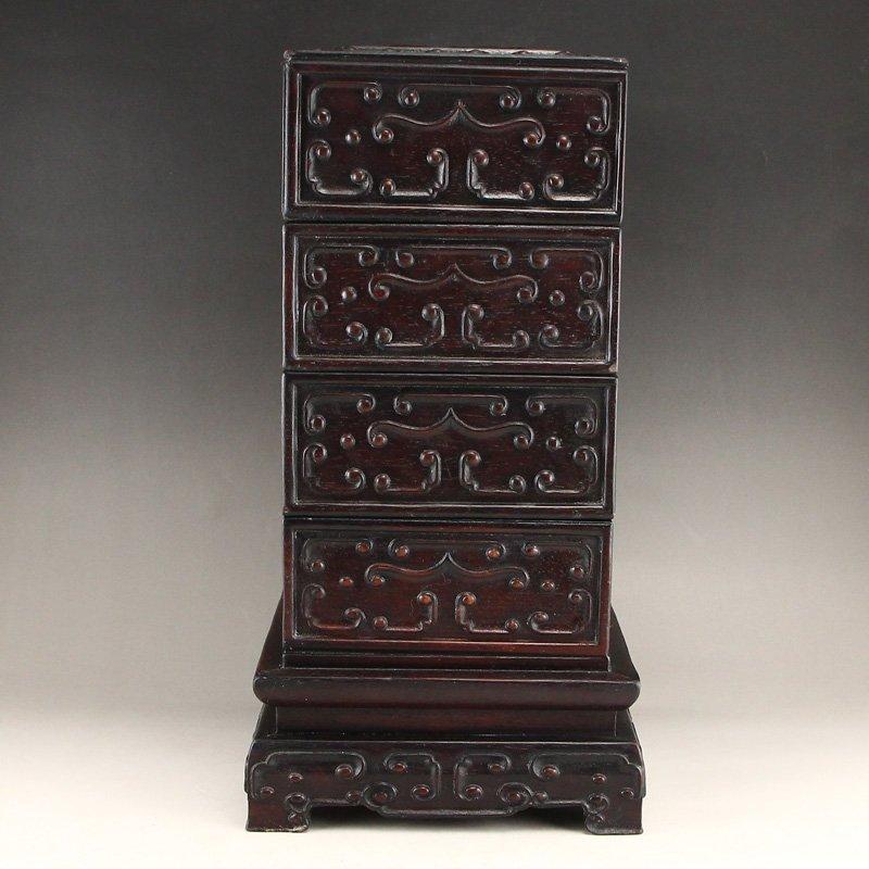 Vintage Chinese Zitan Wood Low Relief Food Box