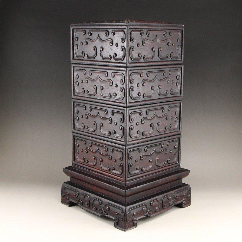 Vintage Chinese Zitan Wood Low Relief Food Box - 2