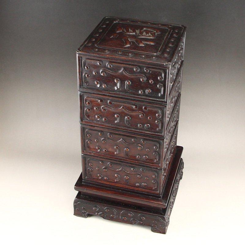 Vintage Chinese Zitan Wood Low Relief Food Box - 4