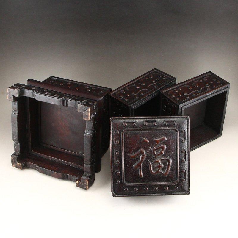 Vintage Chinese Zitan Wood Low Relief Food Box - 6