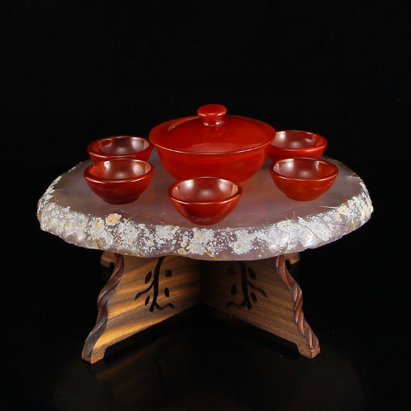 Chinese Red Agate Teabowl & Cup w Water Bile Agate Base
