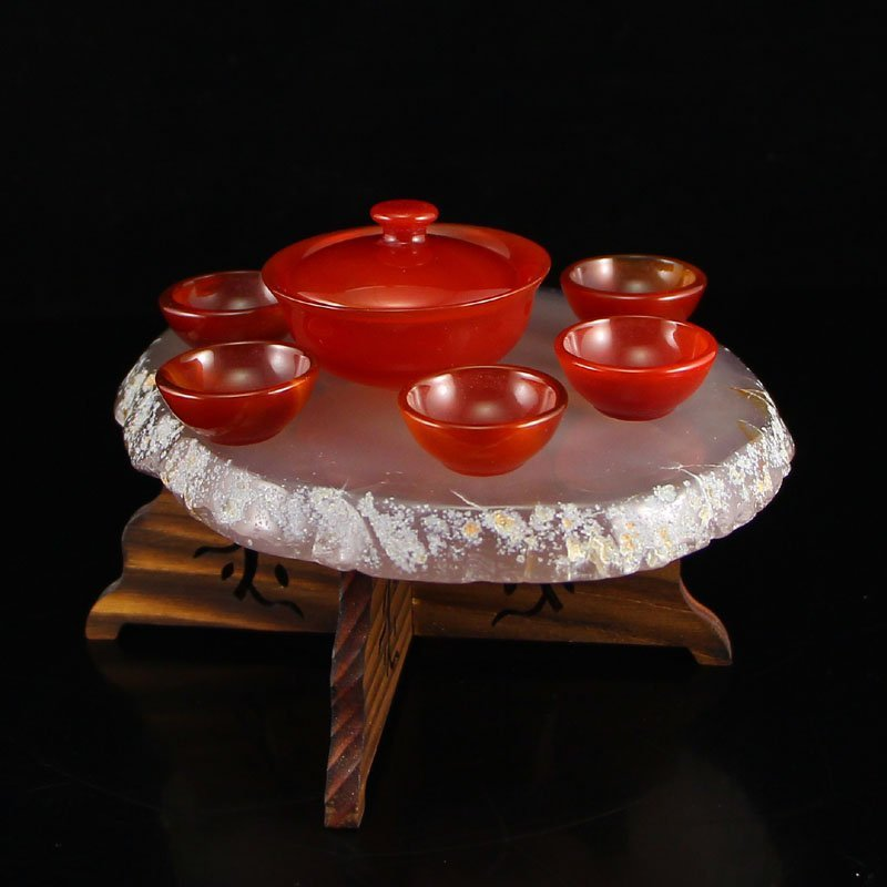 Chinese Red Agate Teabowl & Cup w Water Bile Agate Base - 3