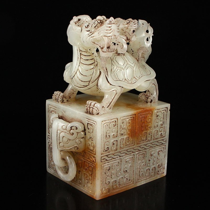 A Pair Chinese Han Dy Hetian Jade Dragon Turtle Seals - 10