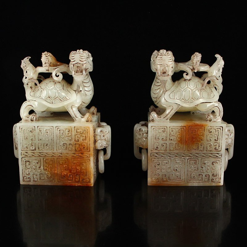 A Pair Chinese Han Dy Hetian Jade Dragon Turtle Seals