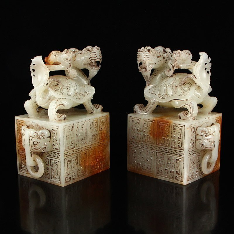 A Pair Chinese Han Dy Hetian Jade Dragon Turtle Seals - 3