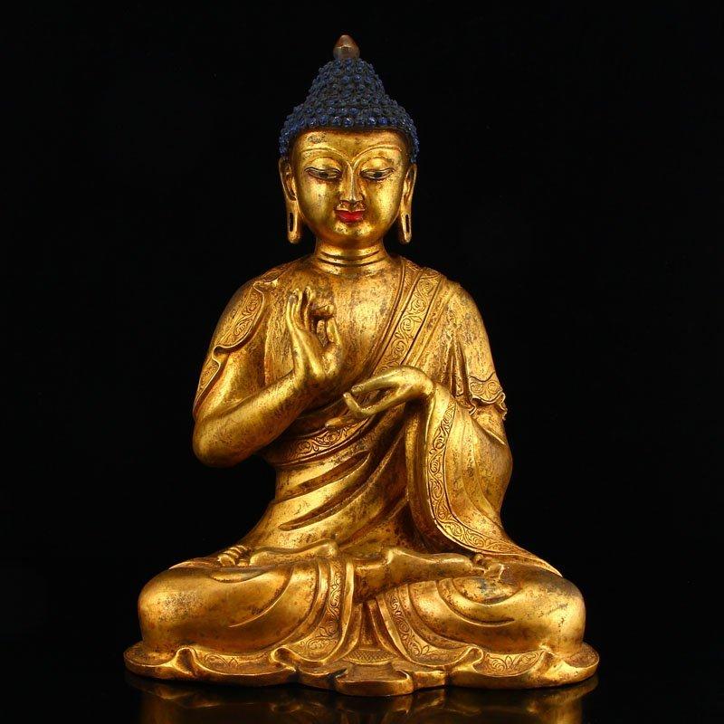 Vintage Gilt Gold Bronze Mahavairocana Buddha Statue