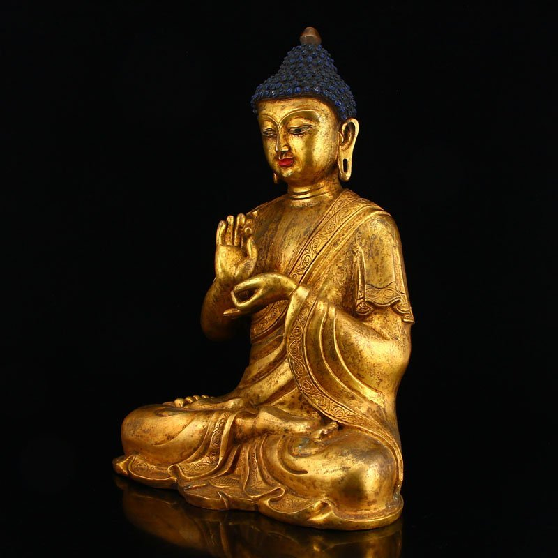 Vintage Gilt Gold Bronze Mahavairocana Buddha Statue - 2