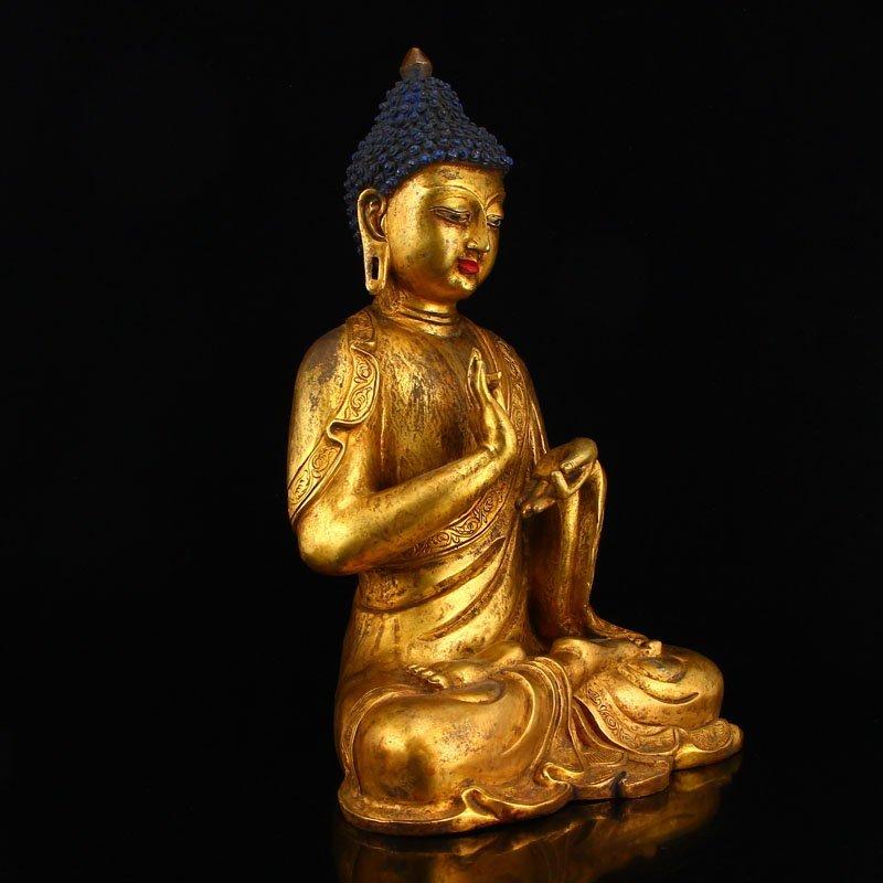 Vintage Gilt Gold Bronze Mahavairocana Buddha Statue - 3