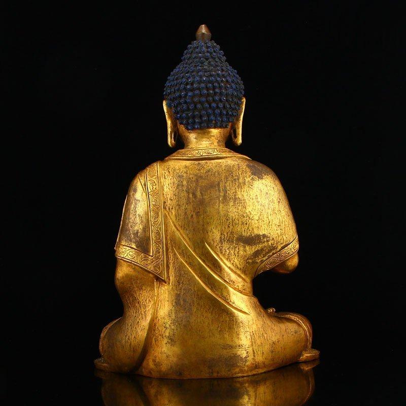 Vintage Gilt Gold Bronze Mahavairocana Buddha Statue - 5
