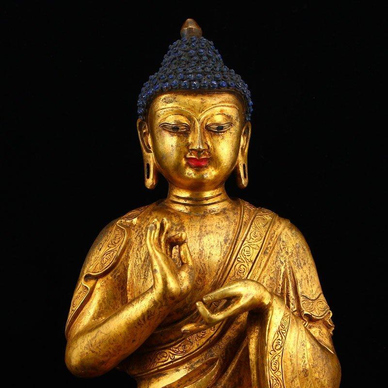 Vintage Gilt Gold Bronze Mahavairocana Buddha Statue - 6
