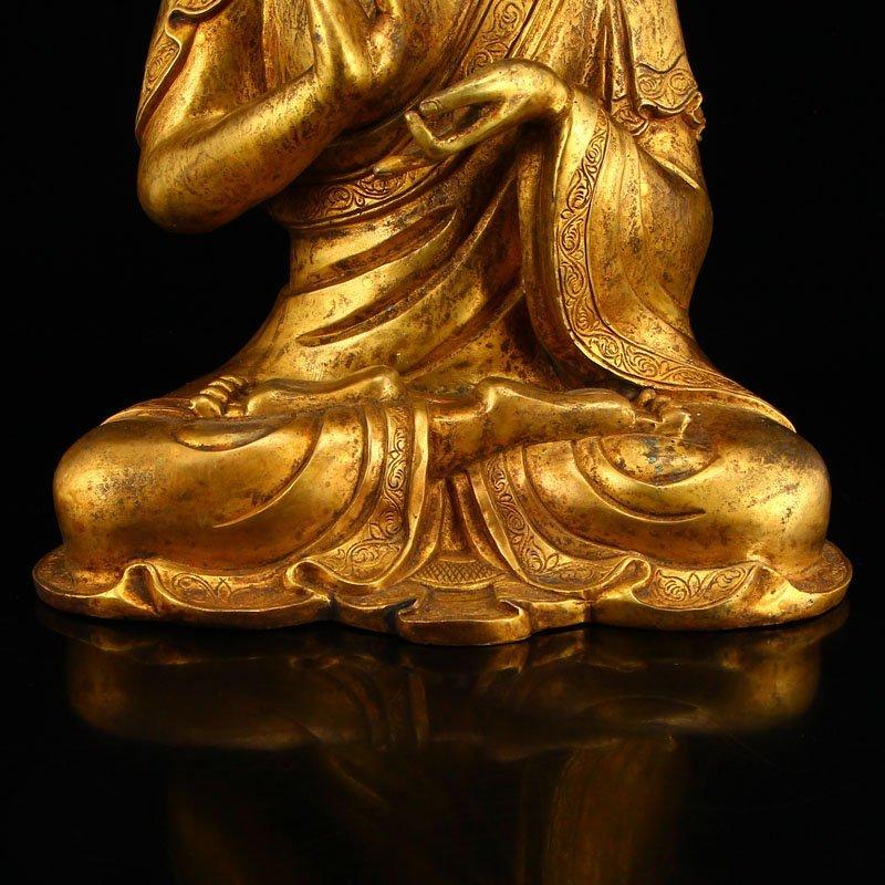 Vintage Gilt Gold Bronze Mahavairocana Buddha Statue - 7