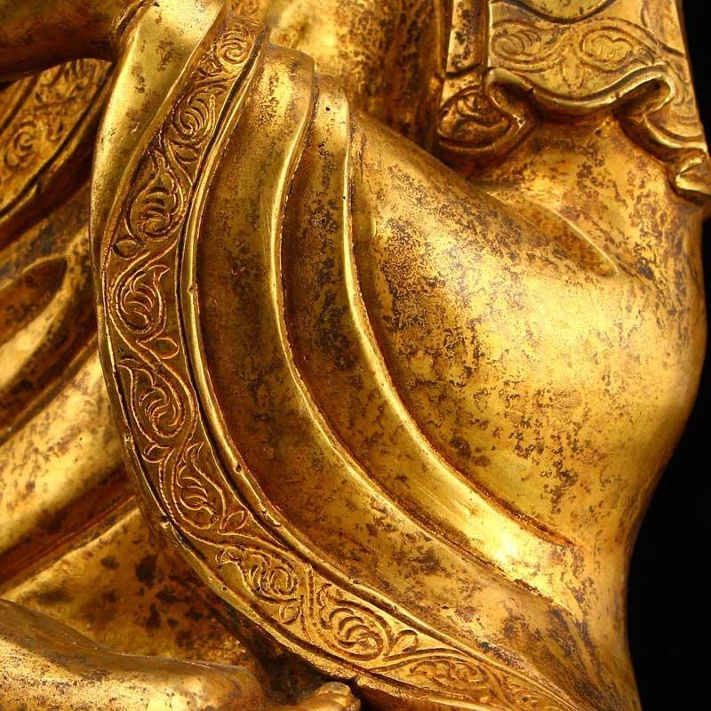 Vintage Gilt Gold Bronze Mahavairocana Buddha Statue - 8