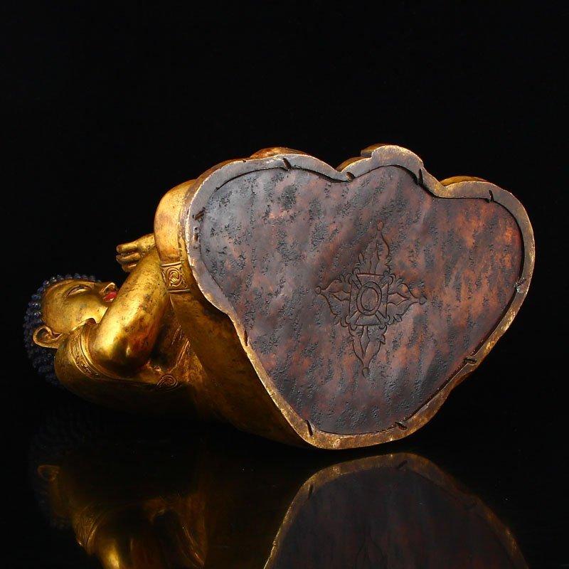 Vintage Gilt Gold Bronze Mahavairocana Buddha Statue - 9