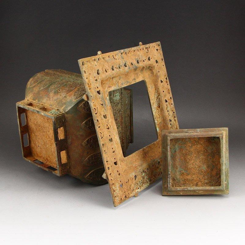 Zhanguo Period Bronze Squareness Pot w Lid & Ladle - 12