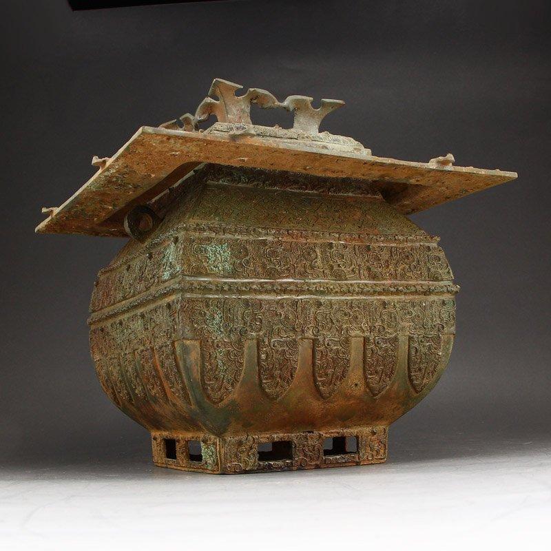 Zhanguo Period Bronze Squareness Pot w Lid & Ladle - 14