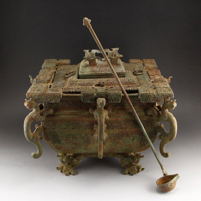 Zhanguo Period Bronze Squareness Pot w Lid & Ladle