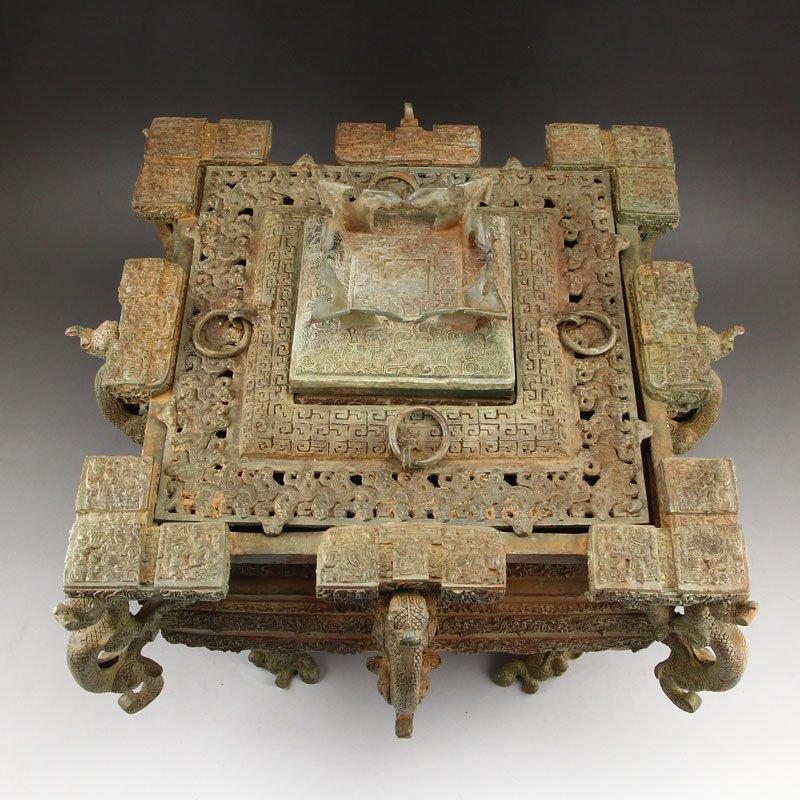 Zhanguo Period Bronze Squareness Pot w Lid & Ladle - 5