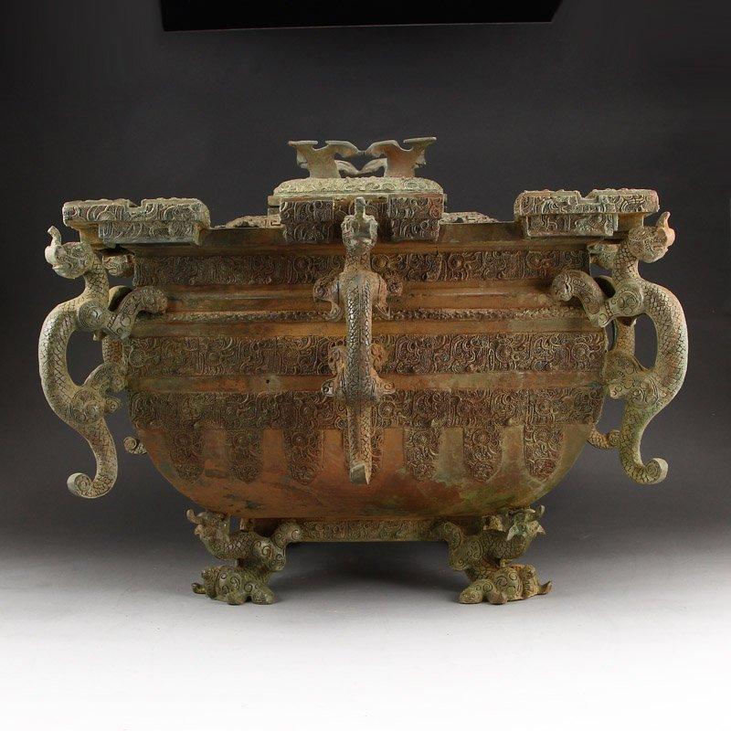 Zhanguo Period Bronze Squareness Pot w Lid & Ladle - 6