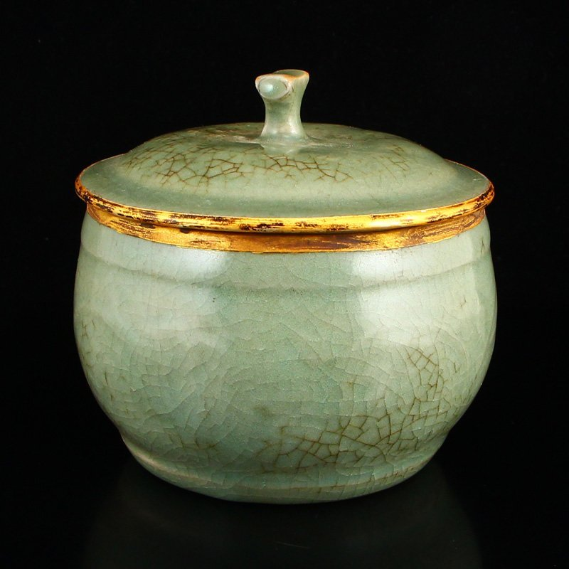 Chinese Gilt Edges Ru Kiln Porcelain Poetic Prose Pot