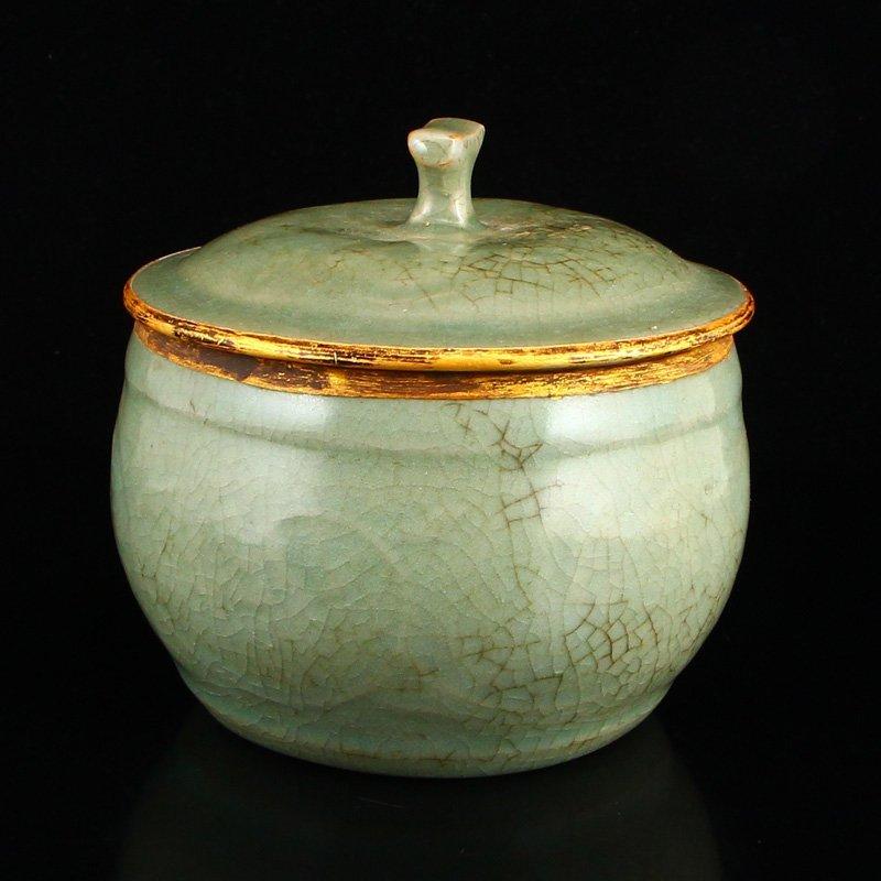 Chinese Gilt Edges Ru Kiln Porcelain Poetic Prose Pot - 2