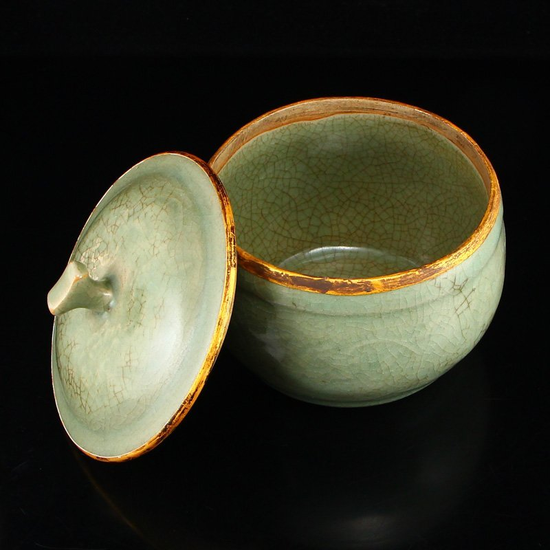 Chinese Gilt Edges Ru Kiln Porcelain Poetic Prose Pot - 4