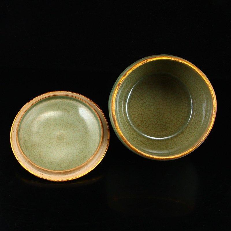 Chinese Gilt Edges Ru Kiln Porcelain Poetic Prose Pot - 5