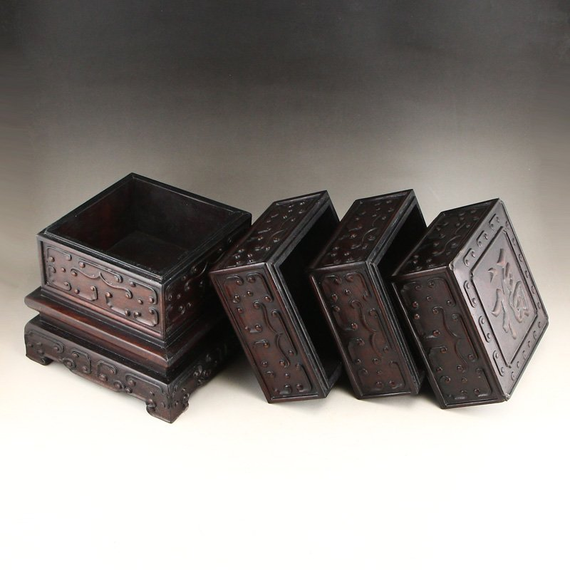 Vintage Chinese Zitan Wood Low Relief Food Box - 5